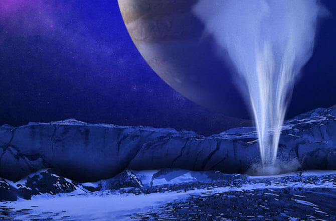Artistic illustration of Europa's icy surface with a water jet in the foreground and Jupiter and the sun in the background. IMAGE COURTESY OF K. RETHERFORD, SOUTHWEST RESEARCH INSTITUTE