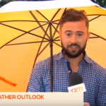 media bloopers Weatherman gone with the wind on Live TV
