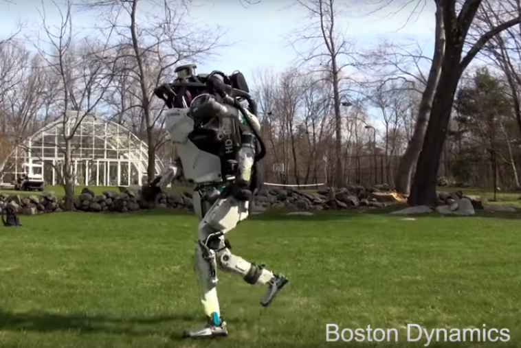Boston Dynamics atlas humanoid robot jogging in the park