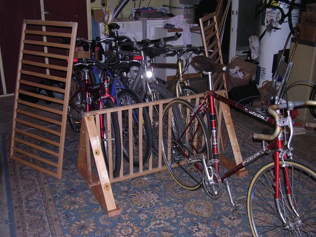 he rail of the crib can be used to make a nice bike rack for your children.