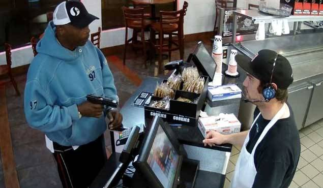 cashier in Kansas reacts when he was at gunpoint