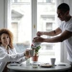 couple enjoying breakfast at home