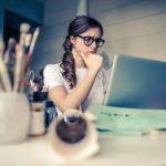 girls thinking computer