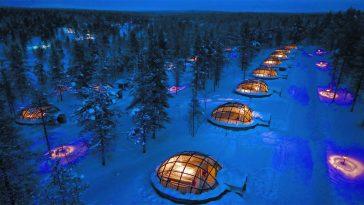 Glass igloo Finland Kakslauttanen Artic Resort