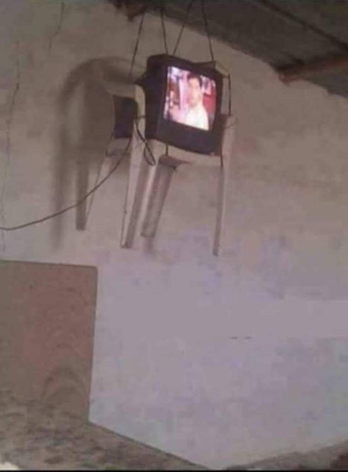 tv hanging up in the air