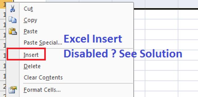 insert row excel disabled or greyed