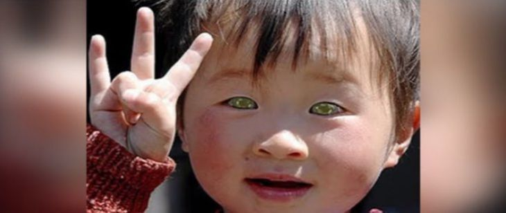 asian kid with green eyes