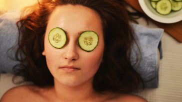 woman face mask cucumber