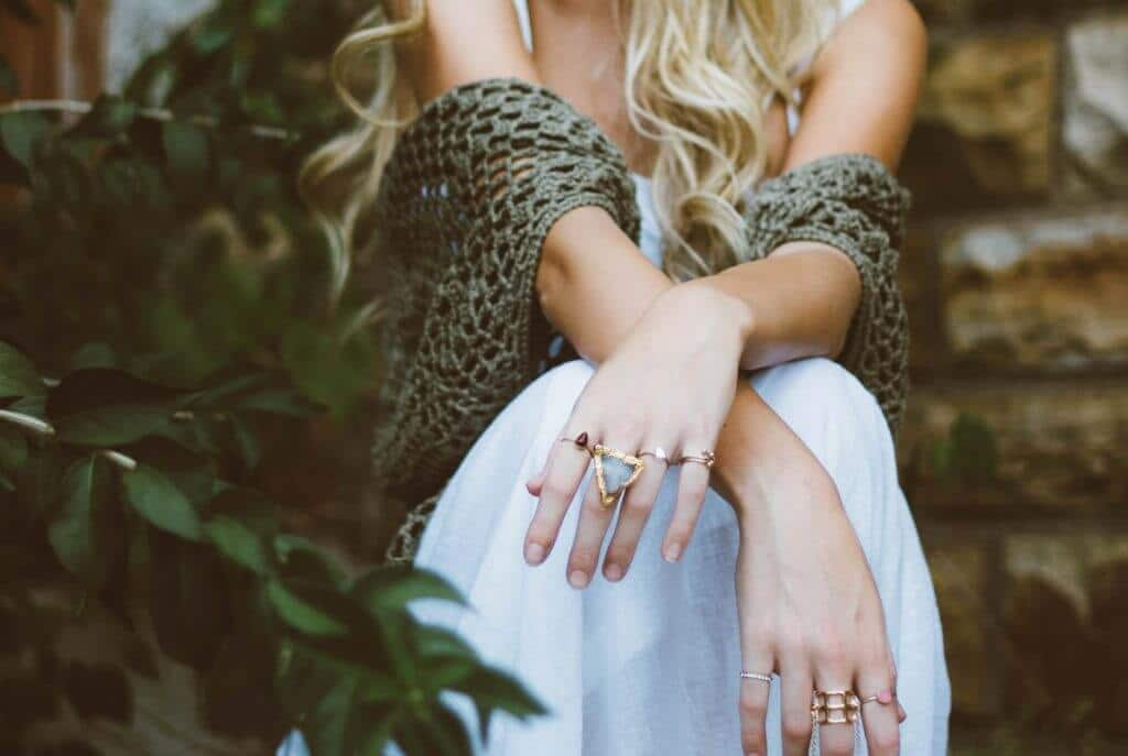 woman with hand jewelry