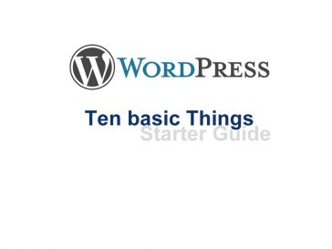 wordpress basics user guide