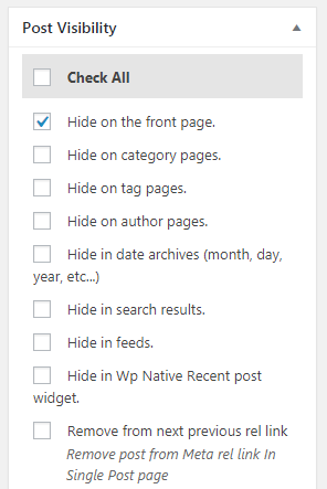 hide post WordPress WP hide post plugin hide the post from the front page, category, tags, pages etc.